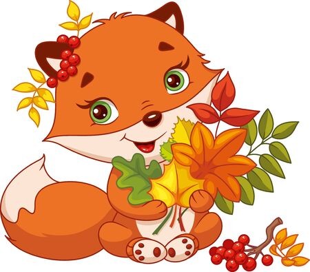 Cute fox with bouquet of autumn leaves on white background Banque d'images - 133243751