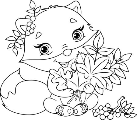 Cute fox with bouquet of autumn leaves on white background Banque d'images - 133243272