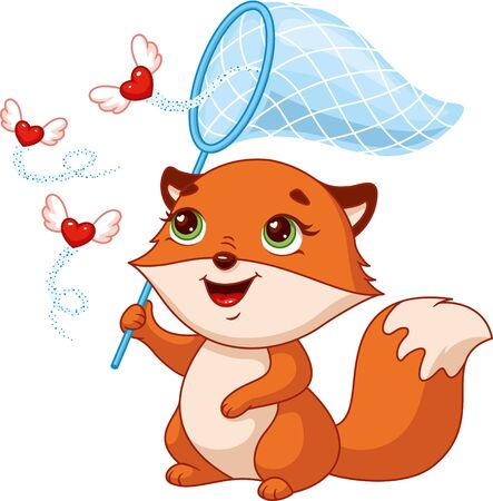 Cute little fox catches hearts on white background Banque d'images - 133333343