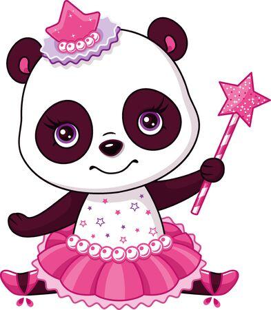 Little panda ballerina on white background
