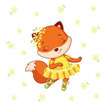 Little fox ballerina dancing on white background
