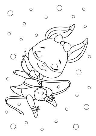 Little bunny ballerina on white background