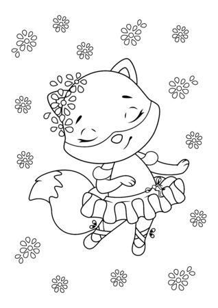 Little fox ballerina dancing on white background 向量圖像