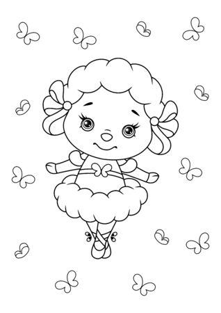 Cute Little Sheep ballerina on white background