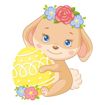 Cute Easter Bunny with egg on white background Vecteurs