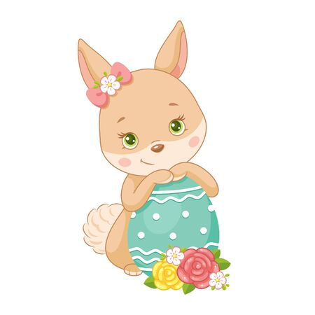 Cute Easter Bunny with egg on white background