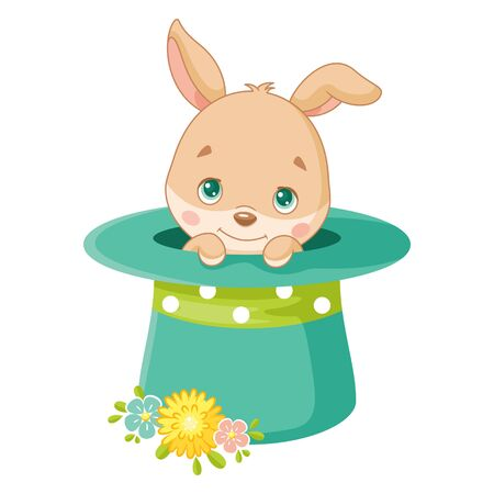 Cute Easter Bunny in Magic Hat on white background
