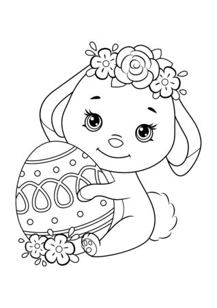 Easter Bunny coloring page stock vector. Illustration of easter ... | 450x318