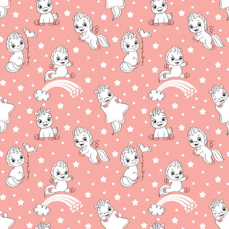 Seamless pattern with happy unicorns on pink background.