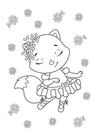 Little fox ballerina dancing Coloring Page