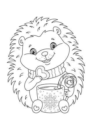 Happy Christmas Hedgehog Coloring Page