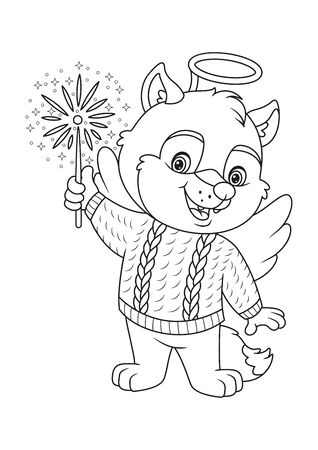 Wolf in Costume Angel with Firework Coloring Page Vettoriali