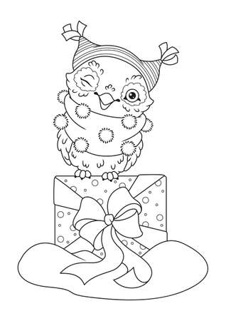 Christmas Owl with Gift Coloring Page