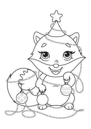 Fox in Christmas Garland Coloring Page 向量圖像