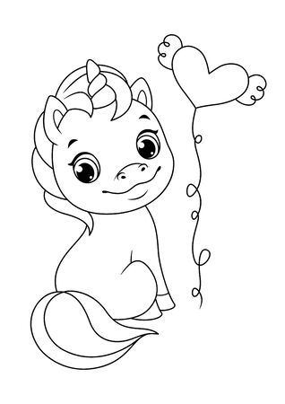 Cute Sitting Unicorn Coloring Page