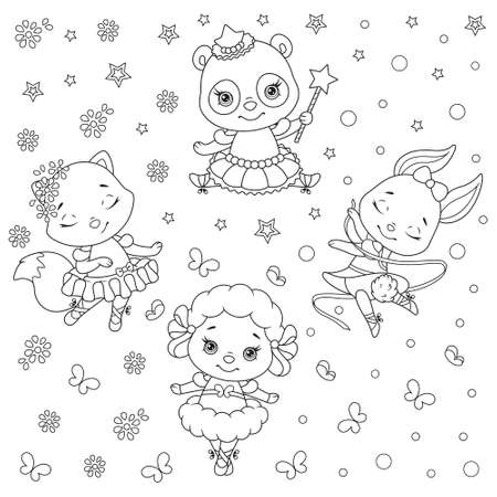 Little Ballerinas Animals Pattern Coloring Page