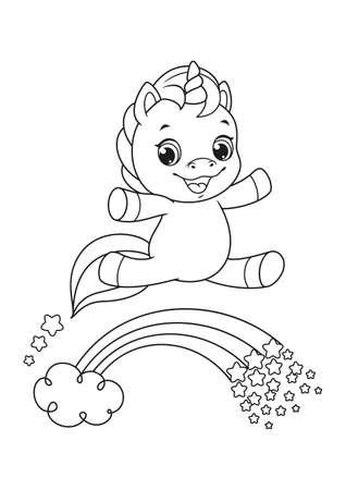 Happy cartoon unicorn flying over rainbow Coloring Page 向量圖像