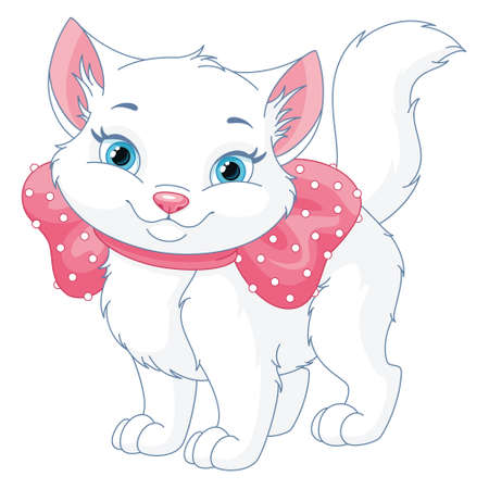 Vector illustration of cute white cat with pink bow 向量圖像
