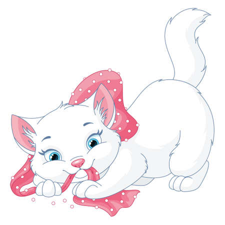 Vector clipart of cute white kitten playing with a pink bow