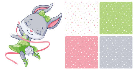 Little bunny ballerina on white background and 4 seamless patterns 向量圖像