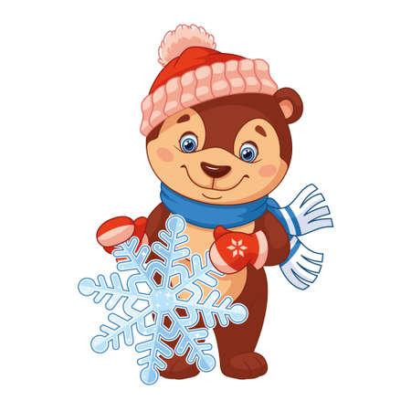 Little bear holding snowflake on white background Ilustración de vector