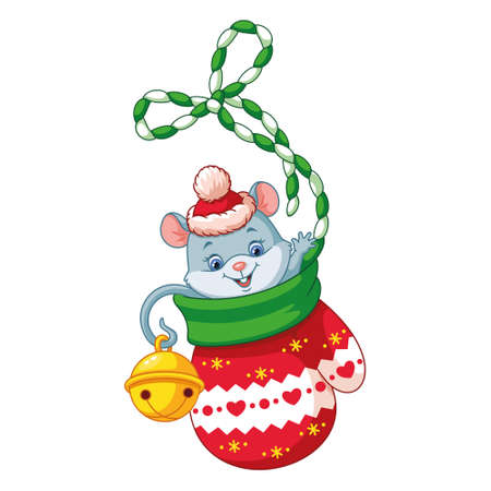 Little mouse in christmas mitten on white background 向量圖像