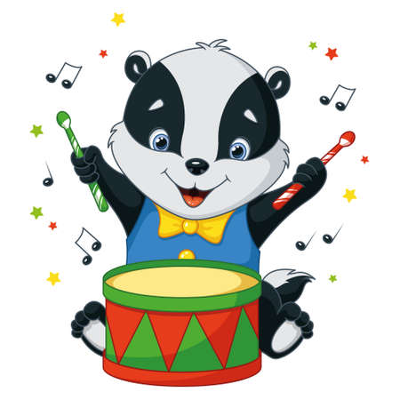 Little badger plays drum on white background