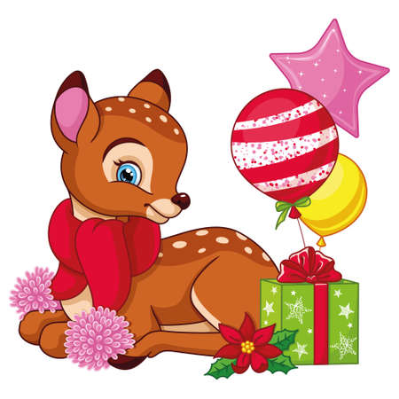Cartoon Christmas little deer with gifts on white background