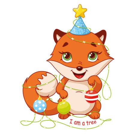 Little fox in christmas garland on white background 向量圖像