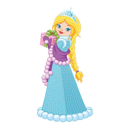 Beautiful Winter Princess with Gift on white background
