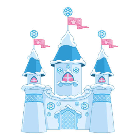 Winter Castle for Princess on white background Vectores