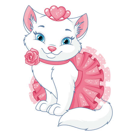 Clipart Princess Cat on white background Vectores
