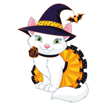 Cute Cat Dressed as a Halloween Witch Vectores