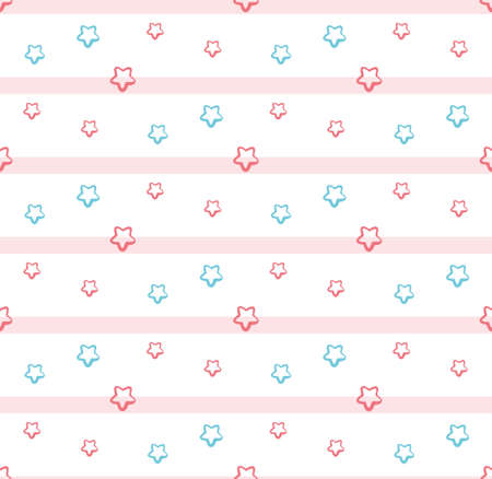 Cute stars seamless pattern for kids on a white background