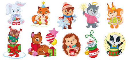 Set Christmas Forest Animals on white background