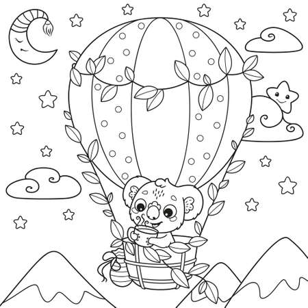 Koala drinks tea and fly in a hot air balloon coloring page 向量圖像