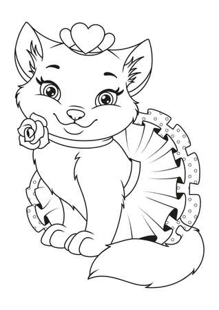 Beautiful Princess Cat Coloring Page