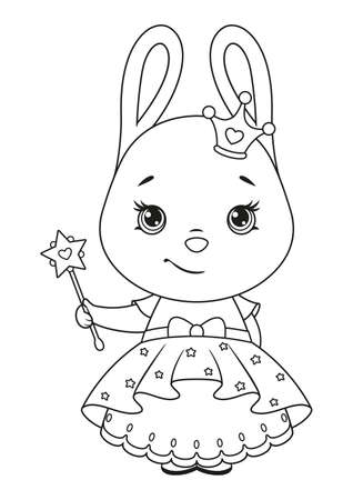 Cute bunny princess with a magic wand coloring page Vectores