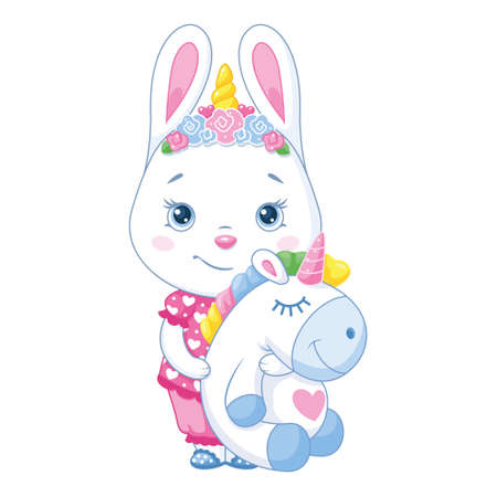 Bunny in pajamas with a toy unicorn Vectores