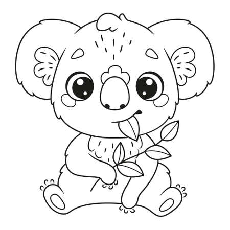 Cute koala eating leaves coloring page