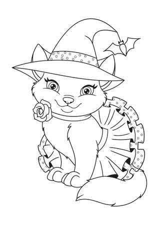 Cute Cat Dressed as a Halloween Witch Coloring Page