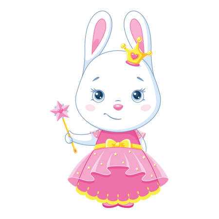 Cute bunny princess with a magic wand Vectores