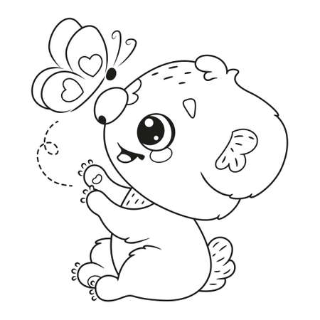 Cute koala with butterfly coloring page