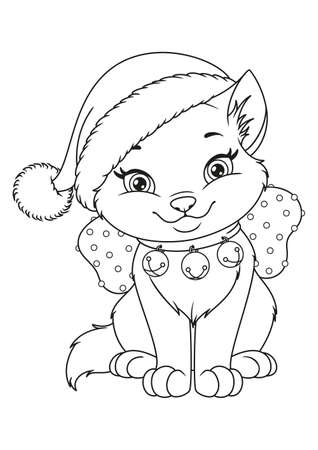 Christmas cat with Santa hat Coloring Page