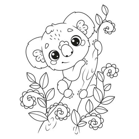 Cute koala on tree coloring page for kids