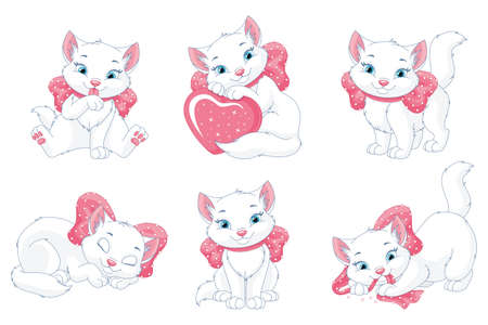 Cute white cat with pink bow, vector set Vectores