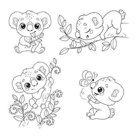 Black and white set of cute koalas