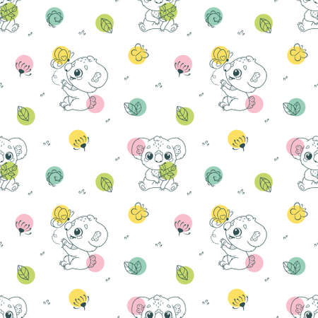 Seamless pattern with baby koalas on white background