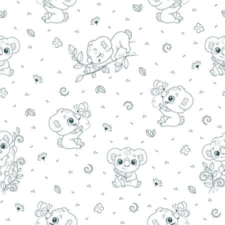 Seamless pattern with baby koalas in scandinavian style Vectores
