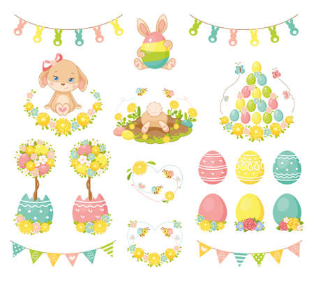 Easter elements set on white background
